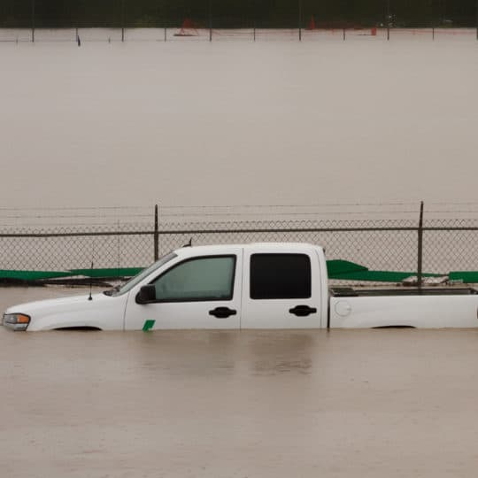 Truck under water during 2013 Calgary flood
