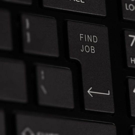 """Find Job"" button on black keyboard"