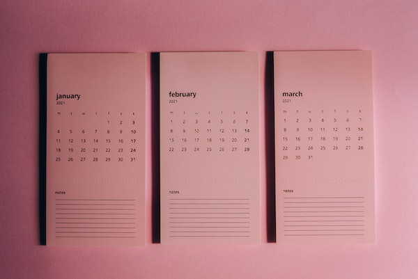 Pink monthly calendars of January, February and March