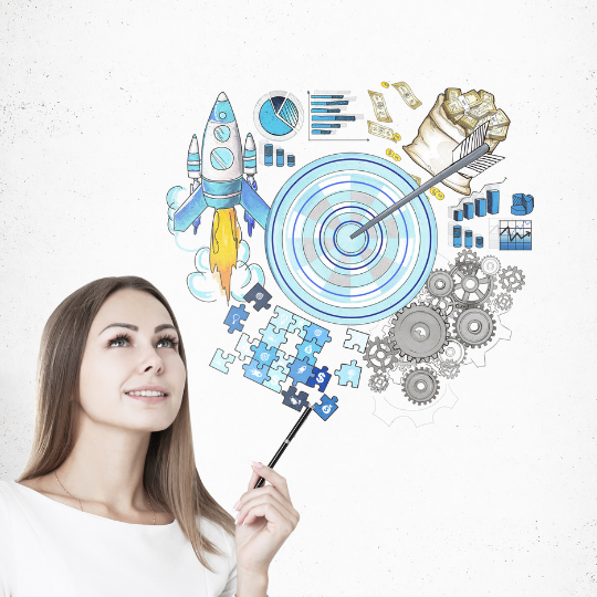 woman with target audience illustration