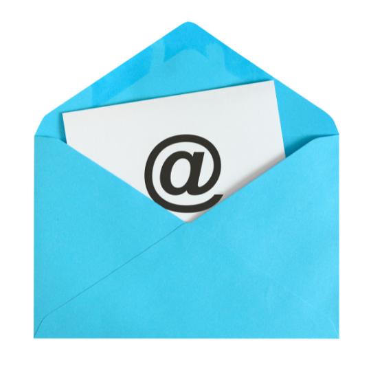 blue envelope containing email symbol