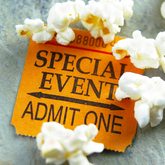 Virtual event marketing admit one ticket with popcorn