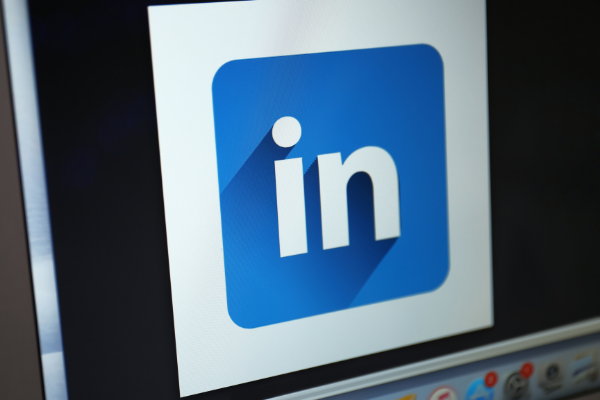 LinkedIn icon displayed on computer screen